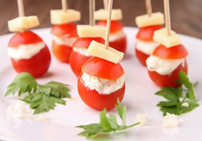 Pepper Jack Cheese and Bacon Stuffed Cherry Tomatoes
