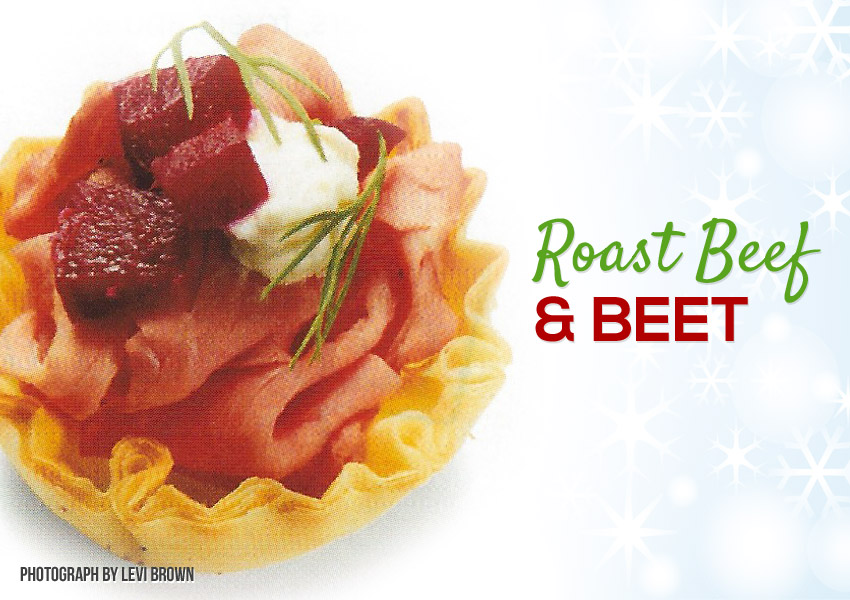 Roast Beef and Beet Phyllo Shells