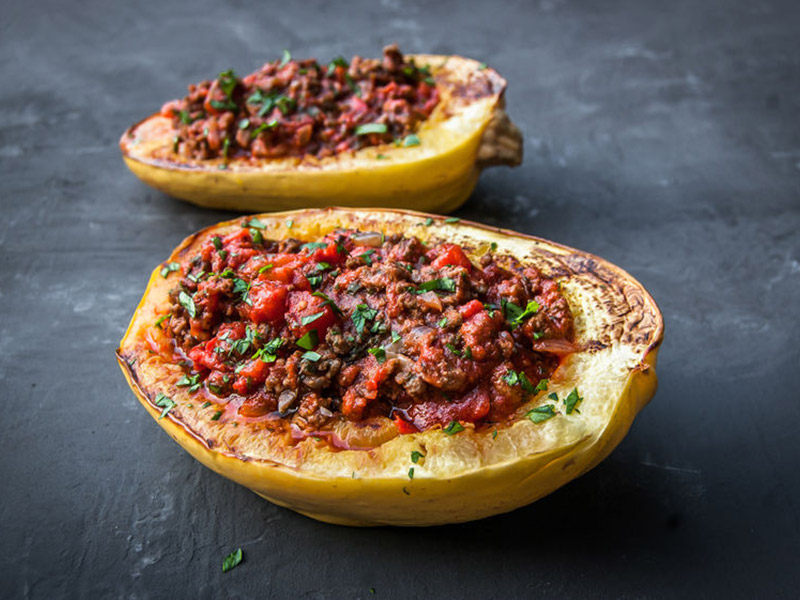 Spaghetti Squash and Ground Beef Italian Bake